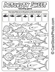 Activity sheet counting game topic 3 - eps10 vector ...