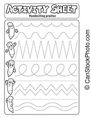 Activity sheet handwriting practise 2 - eps10 vector illustration.