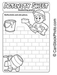 Activity sheet handwriting practise 5 - eps10 vector illustration.