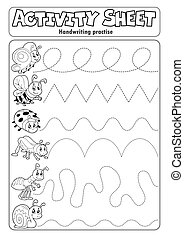 Activity sheet handwriting practise 6 - eps10 vector illustration.