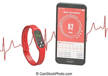 activity tracker or fitness bracelet with smartphone, 3D rendering