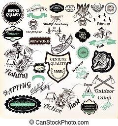 activo, campamento, calidad, resto, parque, cartel, estilo, vector, etiquetas, nacional, pegatinas, otro., diseño, insignias, vendimia, grande, logotype, colección, prima