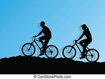 activo, ciclista, jinete de la bicicleta, plano de fondo, ilustración, vector