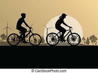 activo, ciclistas, bicicleta, jinetes, en, campo, paisaje de la naturaleza, plano de fondo, ilustración, vector