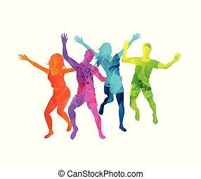 activo, feliz, saltar, gente