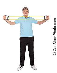 activo, hombre maduro, hacer, ejercicios