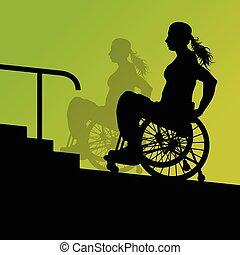 activo, incapacitado, mujer joven, en, un, sílla de ruedas, detallado, asistencia médica