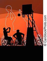 activo, joven, incapacitado, hombres, basketbal
