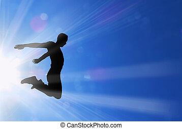 activo, macho, saltos, en, rayos sol