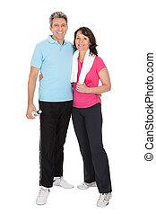 activo, pareja madura, hacer, condición física