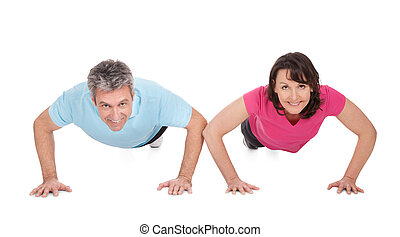 activo, pareja madura, hacer, pushups
