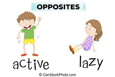 activo, perezoso, palabras, contrario