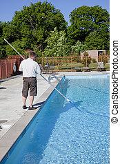 activo, piscina, servicio, técnico