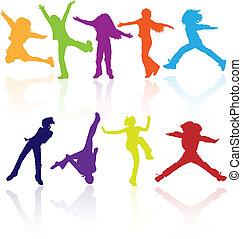activo, silhouettes., conjunto, coloreado