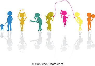 activo, siluetas, niños, deportes