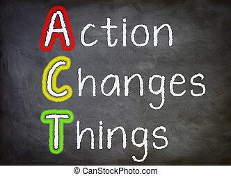 acto, cambios, cosas, -, pizarra, concepto