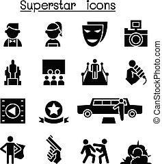 Actor, Actress, Celebrity, Super star icon set