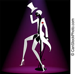 actor cabaret - on abstract black background is a...