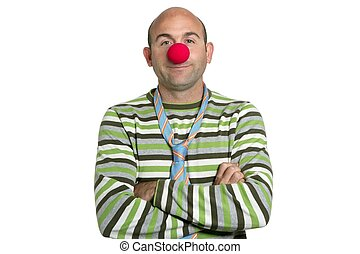 Actor clown posing crossed arms clown nose and tie