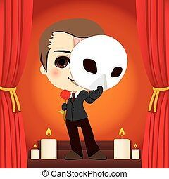 Actor holding a rose and a mask on a stage representation of the Phantom of the Opera