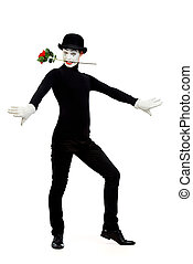 actor man - Full length portrait of a male mime artist with ...