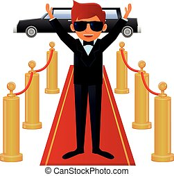 Actor on red carpet vector icon