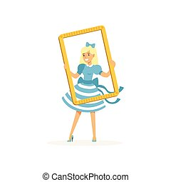 Actress in blue retro dress looking through frame