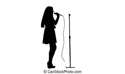 Actress sings pop music at the concert. White background....