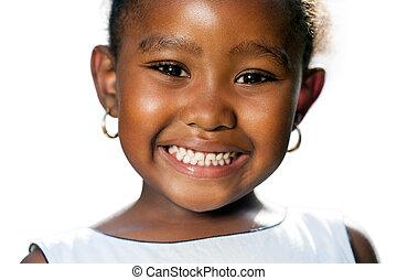 actuación, arriba, africano, pequeño, cierre, niña, teeth.t, extremo
