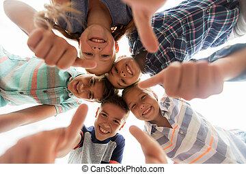 actuación, arriba, pulgares, círculo, niños, feliz