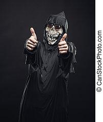 actuación, bata, pulgares, esqueleto, arriba
