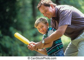 actuación, cómo, padre, hijo, asimiento, murciélago