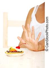 actuación, cake., pare el gesto, mano
