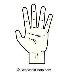 actuación, cinco, dedos, mano
