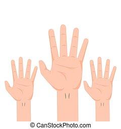 actuación, cinco, dedos, manos
