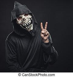 actuación, dedos, dos, esqueleto