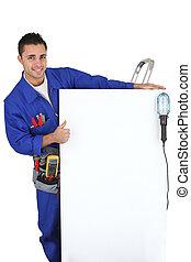 actuación, electricista, panel