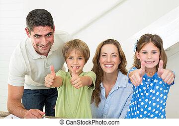 actuación, feliz, arriba, familia , pulgares