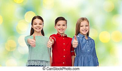 actuación, feliz, niños, arriba, pulgares