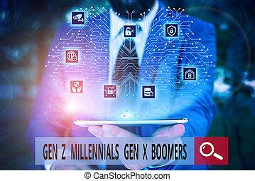 actuación, gen, viejo, trabajo, boomers., conceptual, texto, traje, uso negocio, x, joven, formal, presentación, escritura, diferencias, elegante, macho, mano, z, foto, presentación, device., millennials, generacional