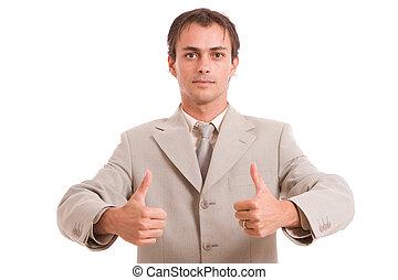 actuación, hombre, arriba, empresa / negocio, pulgares