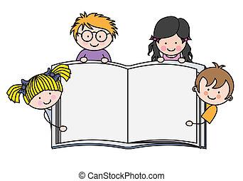 actuación, libro, niños, blanco