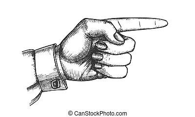 actuación, mano, dedo, hembra, indicador, gesto