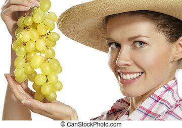 actuación, mujer, joven, uvas, ramo