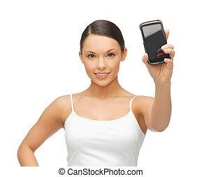 actuación, mujer, smartphone