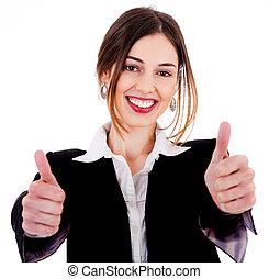 actuación, mujeres, arriba, empresa / negocio, pulgares