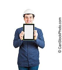 actuación, pantalla, tableta, ingeniero