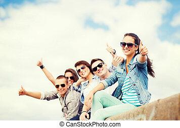 actuación, pulgares arriba, adolescentes
