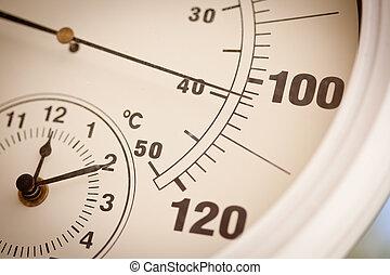 actuación, redondo, grados, termómetro, 100, encima