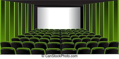 actuación, verde, habitación